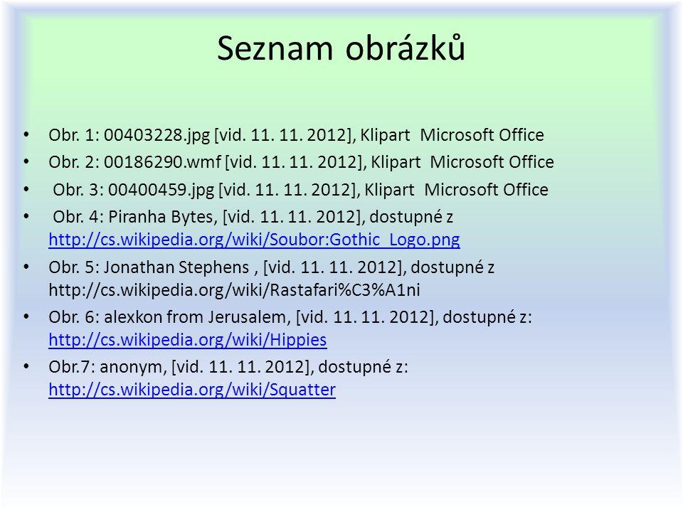 Seznam obrázků Obr. 1: 00403228.jpg [vid. 11. 11. 2012], Klipart Microsoft Office.